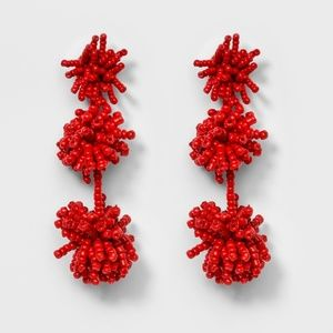Red  Beaded Ball Drop Earrings by baublebar